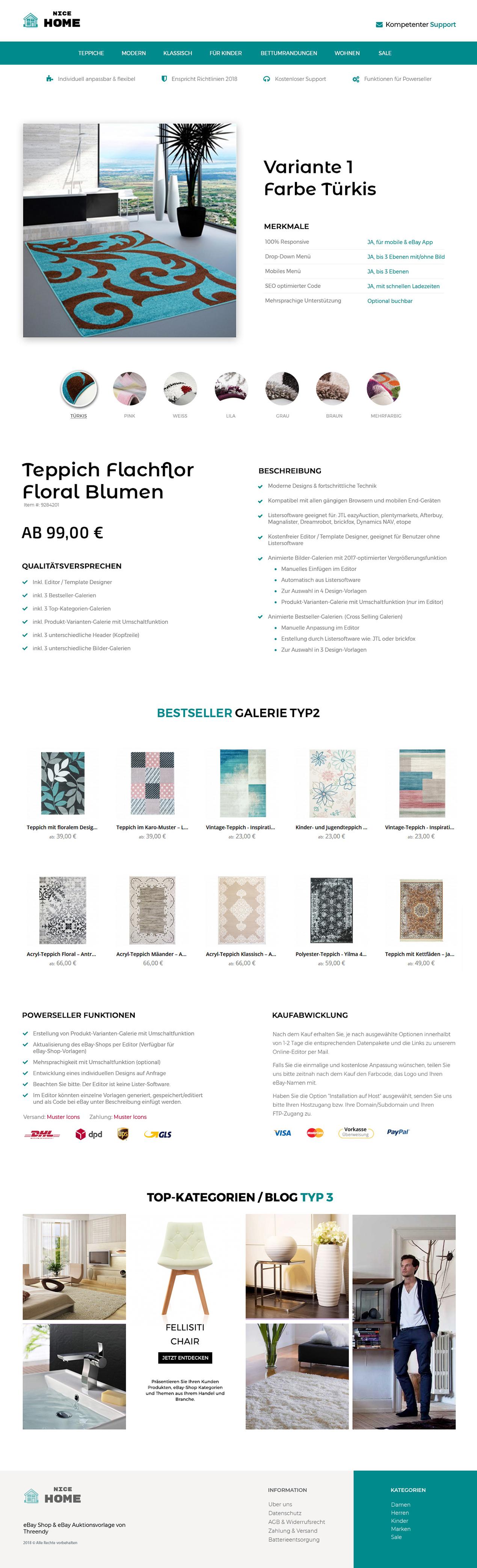 Produkt Varianten Ebay Vorlage Responsive Auktionsvorlage Template
