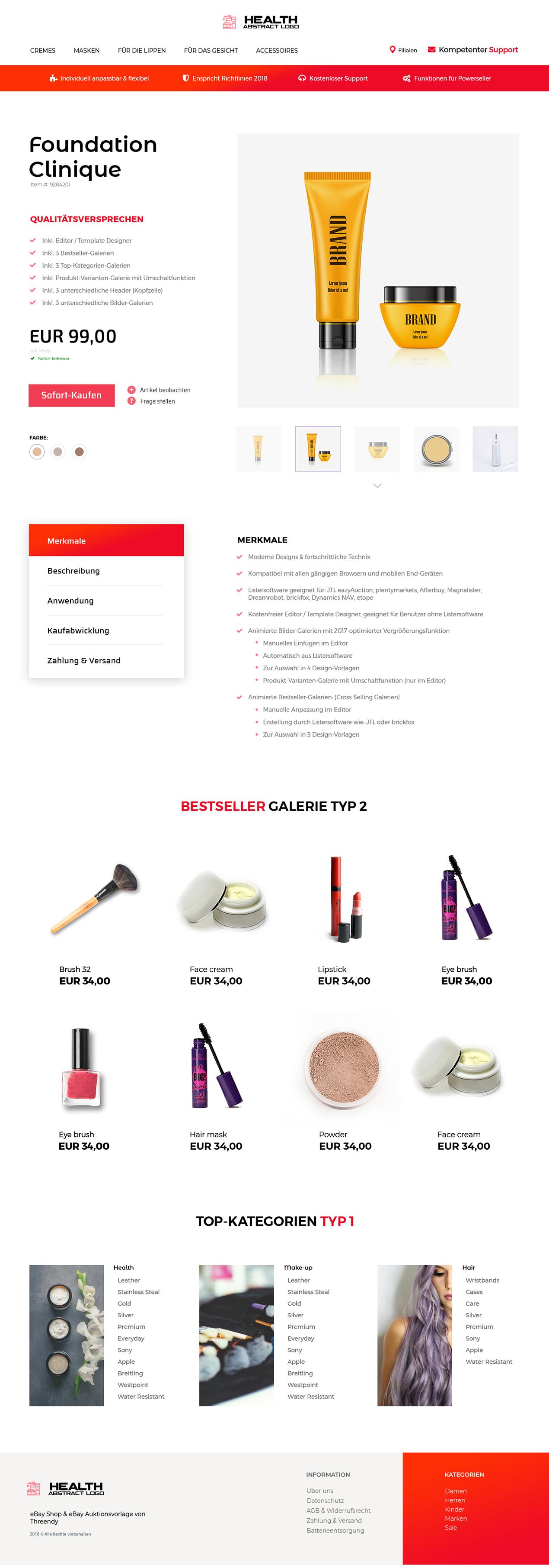 Branchen Ebayvorlage Für Beauty Kosmetik Gesundheit